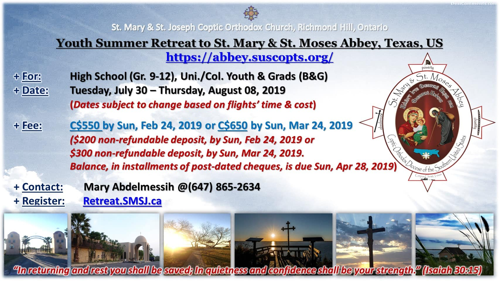 Flyer of Youth Retreat to Texas 2019